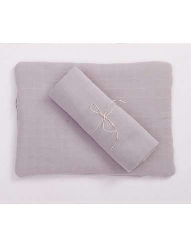 Poduszka muślinowa z bawełny organicznej 30x40cm - Szara