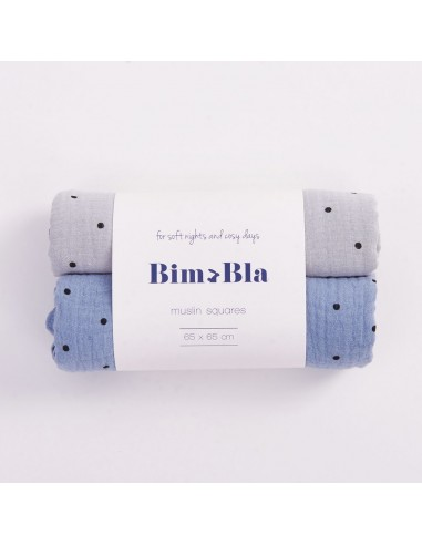 Zestaw pieluszek muślinowych w kropeczki szaro-niebieski 65x65cm
