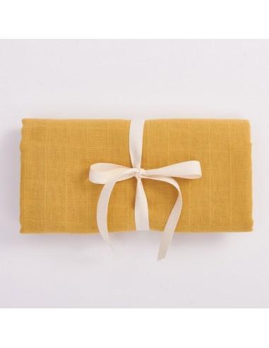 Otulacz muślinowy z bawełny organicznej 100x100cm - Musztardowy