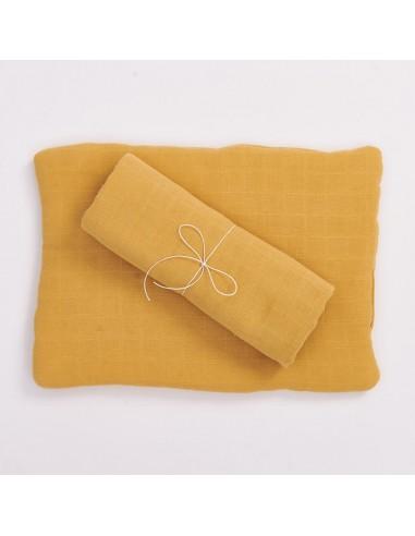 Poduszka muślinowa z bawełny organicznej 30x40cm - Musztardowa