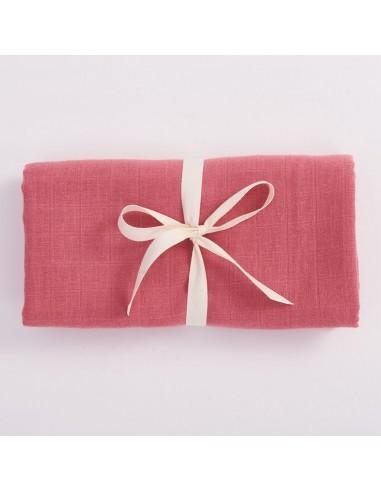 Otulacz muślinowy z bawełny organicznej 100x100cm - Różowy