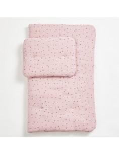 Komplet pościeli muślinowej z wypełnieniem Pink Stars 75x95cm