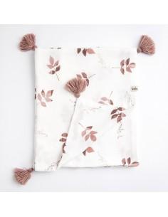 Kocyk Muślinowy 100x120cm Dirty Pink Leaves
