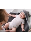 Okrycie kąpielowe dla niemowląt pastele szare 85x85cm