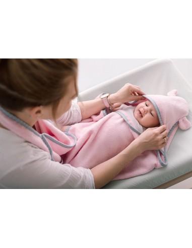 Okrycie kąpielowe dla niemowląt pastele róż 85x85cm