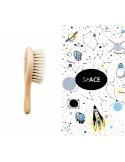 Szczotka miękka z koziego włosia + pieluszka/ myjka muślinowa Space