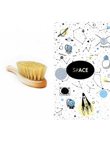 Szczotka średnio-twarda + pieluszka/ myjka muślinowa Space