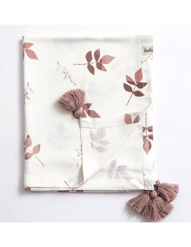 Otulacz bambusowy 110x130cm Dirty Pink Leaves