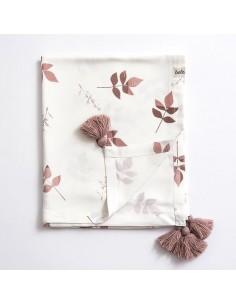 Otulacz bambusowy 80x100cm Dirty Pink Leaves
