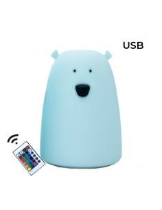 Lampka silikonowa Miś Duży Niebieski z PILOTEM