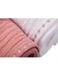 Pieluszki muślinowe z haftem 65x65cm Mild Pink