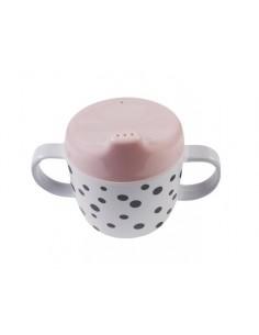 Kubek z ustnikiem Dots Powder Pink