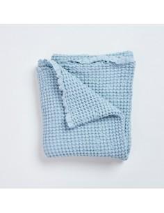 Wafelkowy kocyk lniany Bohem - niebieski 100x100cm