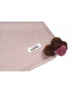 4add75744d7002 Otulacz Muślin Pompony Dusty Pink 100x140cm · Otulacz Muślin Pompony Dusty  Pink 100x140cm