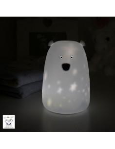 Lampka silikonowa Miś Duży Biały w gwiazdki