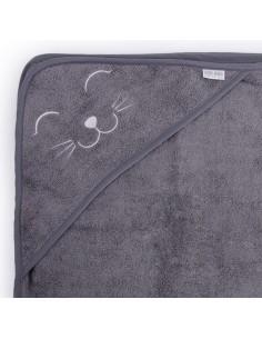 Ręcznik BAMBUSOWY niemowlęcy i myjka - ciemny szary S, Qbana Mama