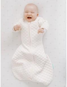 Śpiworek bawełniany z rękawkami snug fit kremowo różowy 6-9m, Aden Anais