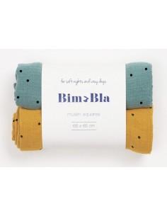 Zestaw pieluszek muślinowych w kropeczki zielono-musztardowy 65x65cm, Bim Bla