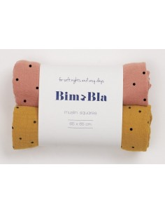 Zestaw pieluszek muślinowych w kropeczki ceglano-musztardowy 65x65cm, Bim Bla