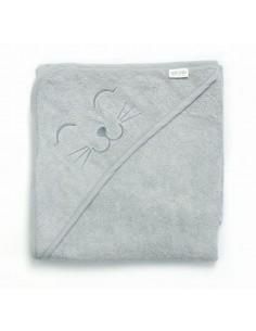 Ręcznik S i myjka BAMBUSOWA niemowlęca - zestaw jasny szary, Qbana Mama