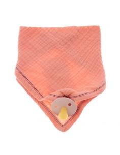 Śliniak/ bandana muślinowa z zawieszką na smoczek Salmon, Hi Little One