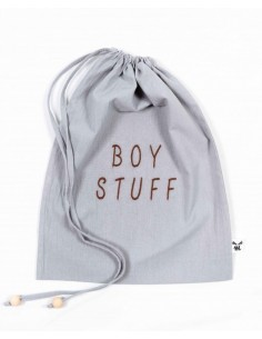 Woreczek na skarby Boy Stuff Washed Grey 30x40cm, Malomi