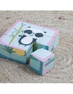 Puzzle-kostki 6 elementów Zwierzątka +2 lata, Little Dutch