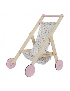 Drewniany wózek dla lalek Spring flowers, Little Dutch