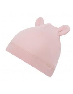 Bambusowa czapeczka dla niemowlaka różowa z uszami 0-3 miesięce, Samiboo