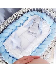 Ochraniacz do łóżeczka warkocz pleciony Velvet Błękitny 200 cm, Sparrow