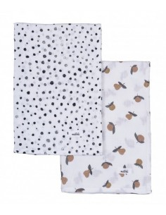 Pieluszki Bamboo Dots and Garden Fruits 75x75cm DWUPAK