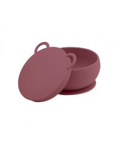 Miseczka silikonowa z przyssawką i pokrywką różana, Minikoioi