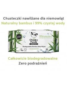 Bambusowe chusteczki nawilżane 64szt - nasączone w 99% wodą, naturalnie antybakteryjne i hipoalergiczne, Cheeky Panda