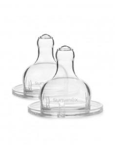 Smoczki okrągłe o szybkim przepływie do butelek 2 szt +4 m-ce , Suavinex