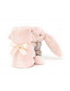 Kocyk przytulanka z króliczkiem pudrowy róż w piżamce, Jellycat