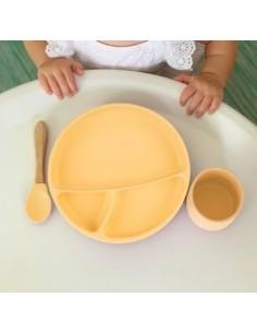 Talerzyk silikonowy z przyssawką żółty, Minikoioi