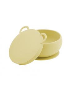 Miseczka silikonowa z przyssawką i pokrywką żółta, Minikoioi