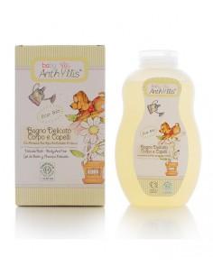 Płyn do kąpieli i szampon 2w1 proteiny ryżu, ekstrakt z hibiskusa z upraw organicznych 400 ml, Baby Anthyllis