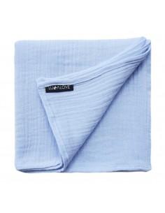 Otulacz muślinowy niebieski serenity 100x100 cm, Lullalove