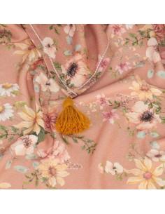 Otulacz bambusowy Carmel Vintage z frędzlami 75x100cm, Samiboo