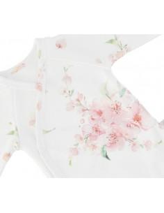 Body niemowlęce z długim rękawem z bawełny organicznej Japanese Flowers 56/ 62cm, Yosoy