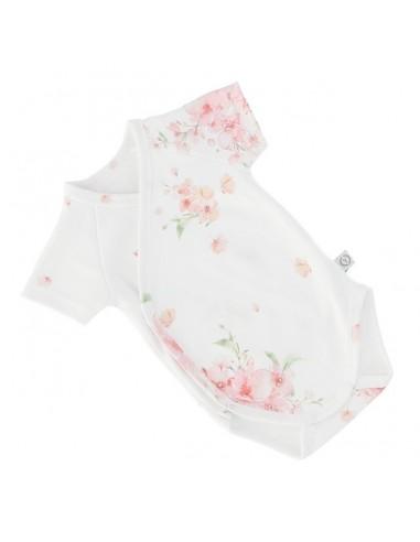 Body niemowlęce z krótkim rękawem z bawełny organicznej Japanese Flowers 56/ 62cm, Yosoy
