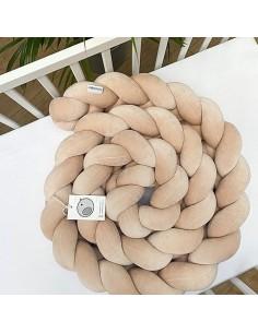 Ochraniacz do łóżeczka warkocz pleciony Velvet Beżowy 200 cm, Sparrow