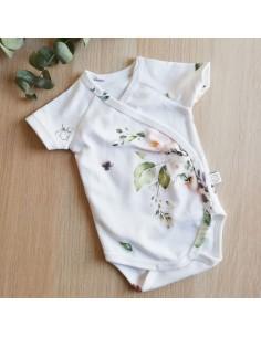Body niemowlęce z krótkim rękawem z bawełny organicznej Vintage Roses 68/ 74cm, Yosoy