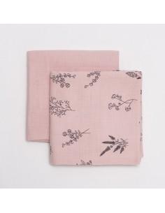 Zestaw pieluszek muślinowych Botanical różowe 65x65cm, Bim Bla