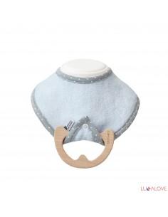 Śliniak z drewnianym gryzakiem BLUE superPRO baby eco