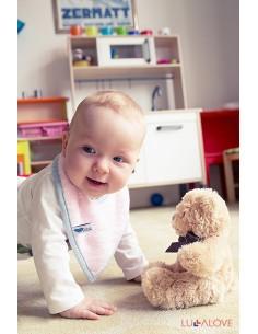 Śliniak z drewnianym gryzakiem RÓŻ superPRO baby eco