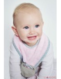 Śliniak z kauczukowym gryzakiem RÓŻ superPRO baby hevea