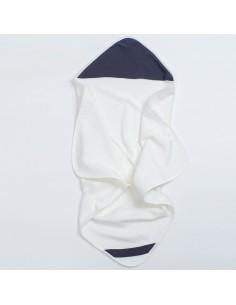 Bambusowy ręcznik z muślinowym kapturkiem 75x75cm granatowy, Bim Bla