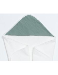 Bambusowy ręcznik z muślinowym kapturkiem 75x75cm Zielony, Bim Bla